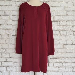 Leslie Fay Long Sleeve Lace Berry Shift Dress NWT